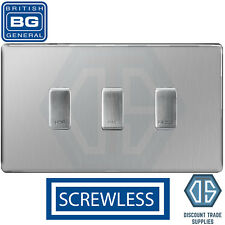 BG Brushed Steel Screwless Custom Grid Switch Panel Kitchen Appliance 3 Gang