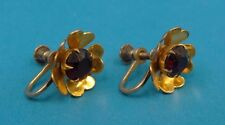 Vintage Used Ladies .925 Sterling Silver Red Stone Clip On Earrings Jewelry