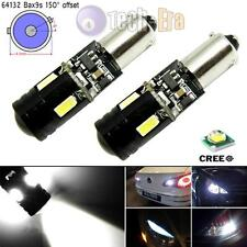2x White Bax9s Error Free 9W CREE LED 4-SMD Parking or Backup Lights 64132 64136