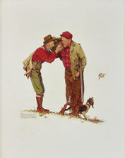 Rockwell Norman Two Old Men And A Dog Hunting Canvas 16 x 20  #3307