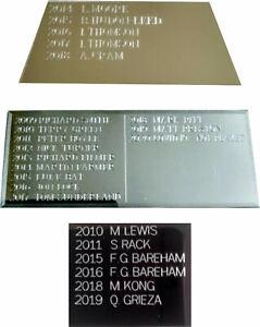 Annual / Perpetual trophy - aluminium Plaque/Plate - updating