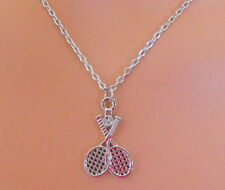 Crossed TENNIS Rackets for SINGLES DOUBLES Delicate SILVER Tone CHAIN NECKLACE