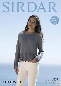 Sirdar 7824 Knitting Pattern Womens Sweater in Sirdar Cotton DK