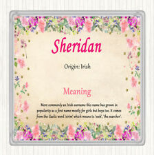 Sheridan Name Meaning Drinks Mat Coaster Floral