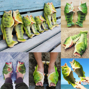 Men Women Funny Fish Shaped Soft Slippers Flats Sumer Beach Flip Flops Shoes