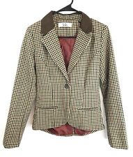 Lola Womens Vintage Blazer Jacket Sz M Brown N Burgandy Elbow Patches Slim Fit