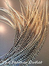 Lot 20 Grizzly Feathers Hair Extensions long thin striped Real TIE DYE NATURAL