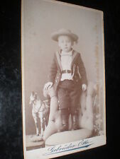 Cdv old photograph sailor boy toy horse by Otto Oranienburg Germany c1890s
