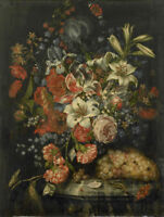 "oil painting handpainted on canvas ""Still life  with flowers and  fruits"""