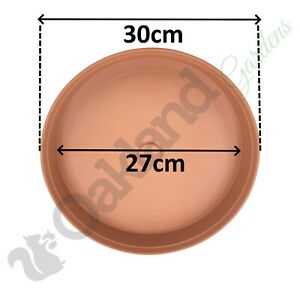 10 x 30cm Plant Pot Saucer Drip Tray Terracotta Plastic Deep High Sided Strong
