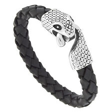 "8.5"" Black Leather Rope Bracelet w/ Stainless Steel Snake Clasp"