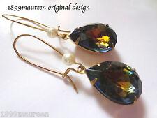 Art Deco earrings Art Nouveau vintage blue topaz crystal pearl Victorian short