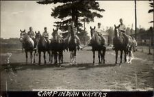 Hayward WI - Camp Indian Waters - Boys on Horses Real Photo Postcard