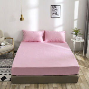 Waterproof Fitted Sheet Mattress Cover Bed Bedding Deep Queen King Pad Protector
