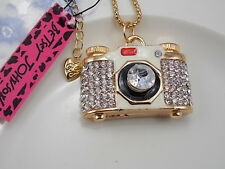 Betsey Johnson fashion inlay Crystal Camera Pendant Necklace # F248
