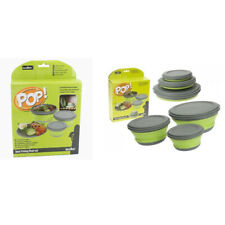 Set of 3 Pop Up Collapsible Folding Camping Food Storage Bowls with Lids Caravan
