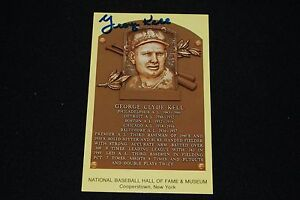 George Kell Detroit Tigers Signed Yellow HOF Plaque Postcard-NM