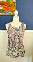 Meadow Rue Anthropologie Sleeveless Ruffle Soft Blouse Top Paisley Sz Medium M