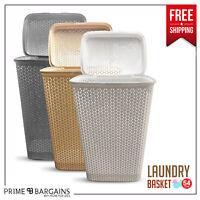 Large Laundry Basket Washing Clothes Storage Bin Bag With Lid White Cream & Grey