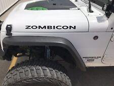 "Jeep Wrangler ""ZOMBICON"" Vinyl Hood Decal Sticker for CJ YJ TJ JK JL (Set of 2)"