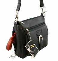 Concealed Carry Leather Gun Purse Concealment Purse with Locking Zipper CCW CWP