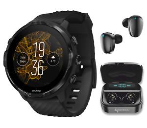 Suunto 7 Black GPS Sports Smartwatch with Wearable4U EarBuds Power Bundle