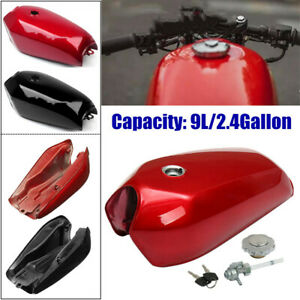 9L/2.4 Gallon Universal Motorcycle Cafe Racer Fuel Gas Tank w/Cap Fit for Honda