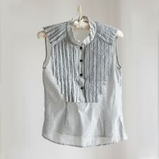 Women's Pleated Sleeveless Collared Top/blouse - Size S Blue