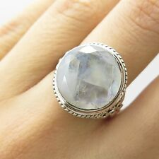 925 Sterling Silver Large Natural Moonstone Gemstone Ring Size 7