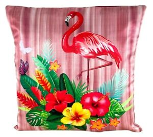 "Pink Flamingo Flower Printed Decorative Cushion Cover 50cm X 50Cm (20 "" X 20 "")"