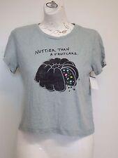 Women Crop Top Shirt Grey T Shirt Large Short Sleeve nuttier than fruitcake
