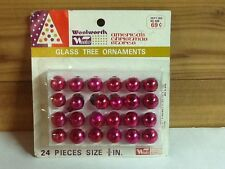 Vintage Woolworth Woolco Glass Tree Ornaments Ruby Pink