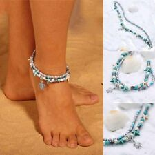 Sea Turtle Beach Ankle Bracelet Gift Anklet Double Chains Boho Turquoise Beads