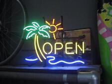 "New Palm Tree Open Sunshine Beer Pub Neon Sign 17""x14"""
