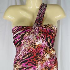 XL Long Maxi Dress Gown Pink Animal Print Rhinestone Trim One Shoulder Costume