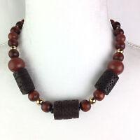 "Vtg Brown Chunky Wood Plastic Metal Bead Necklace Boho Hippie 18 1/2"" Long"