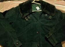 Unb Womens Green Bomber Jacket leather calfskin suede S St. Patricks apres ski