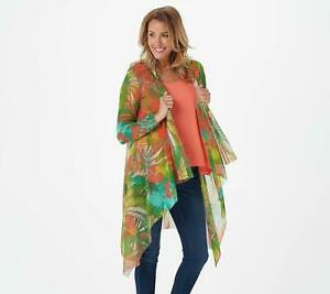 Attitudes by Renee Regular Printed Mesh Cardi W/ Tank (Candy Coral, 2X) A378375