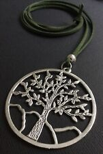 GREEN Long Suede necklace with a Large statement TREE OF LIFE pendant LAGENLOOK