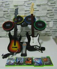 Xbox 360 Rock Band Bundle - Drums, 2 Guitars, Pedal, Stratocaster, Games, Mic