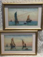 PR of WATERCOLOURS in gilt frames...Marine Scenes Signed D. Holliday 1923