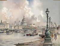 EMERSON HAROLD GROOM Watercolour Painting BLACKFRIARS FROM SOUTH BANK LONDON