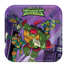 8 X Rise Of The Teenage Mutant Ninja Turtles Carré Assiettes en Papier 18cm