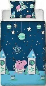 Peppa Pig George Boom Single Duvet Cover Set Boys 2-in-1 Design Space Rocket