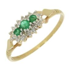 Emerald And Diamond Cluster Ring 9ct Yellow Gold CH940