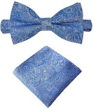 Fliege + Einstecktuch Schleife Querbinder Binder de Luxe 440 blau Krawatten