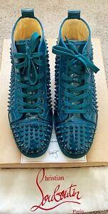 Authentic Christian Louboutin Louis Spikes Mens Green Sneaker US9.5 EU42.5 UK8.5