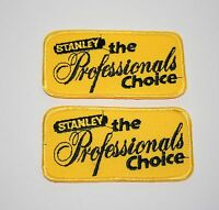 2 Vintage Stanley Works Tools Professional Choice Cloth Jacket Hat Patch New NOS