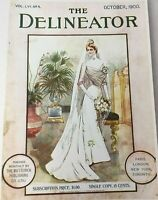 Vintage The Delineator Magazine Cover Bride Bridal October 1900 Pink Tone 8.5x11