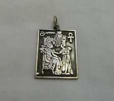 """Egyptian Sterling Silver King Tut & Queen Pendant 1.75"""""""